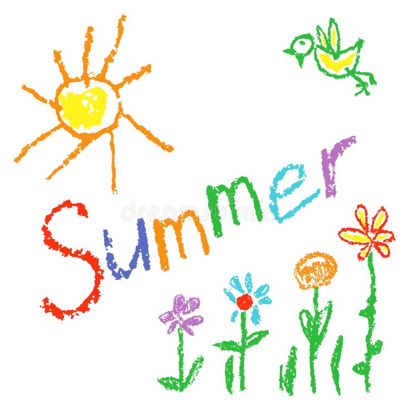 Waskleurpotlood zoals achtergrond van de jong geitje` de s getrokken zomer met zon, vogel, bloemen, gras vector illustratie