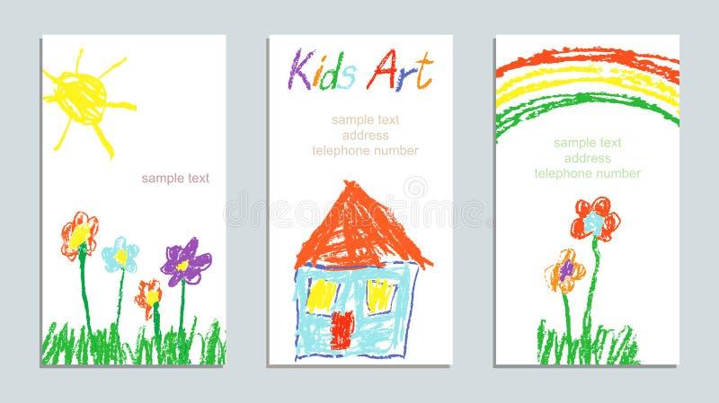 Waskleurpotlood zoals het huis van de de tekeningskunst van de kind` s hand, gras, kleurrijke bloemen, regenboog en zon stock illustratie