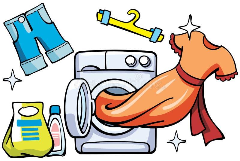 Wasmachine en schone kleren stock illustratie