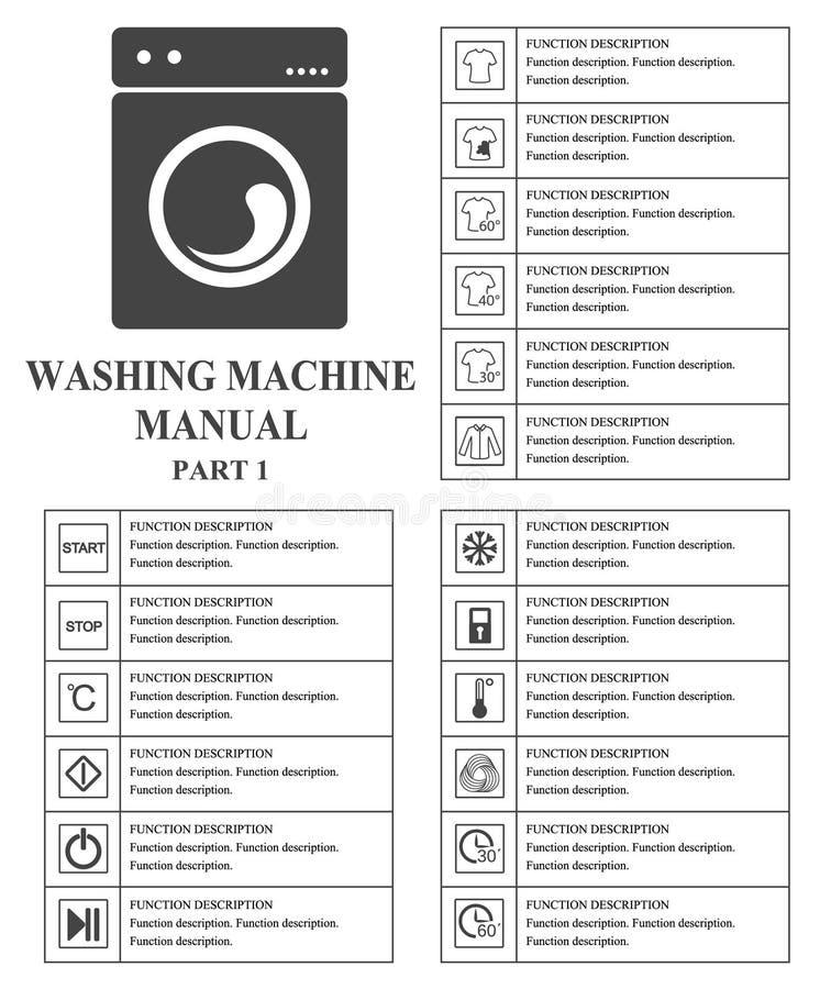 Wasmachine handsymbolen Deel 1 Instructies Tekens en symbolen voor het handboek van de wasmachinebenutting Instructies en F royalty-vrije illustratie