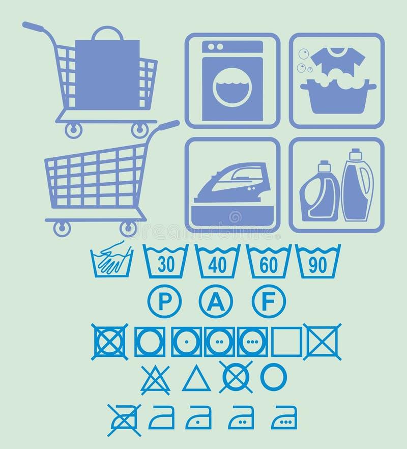 Wasmachine; ijzer; bleekmiddel; was; boodschappenwagentje; mand; vrachtwagen; het winkelen; tekens voor was; royalty-vrije stock afbeeldingen