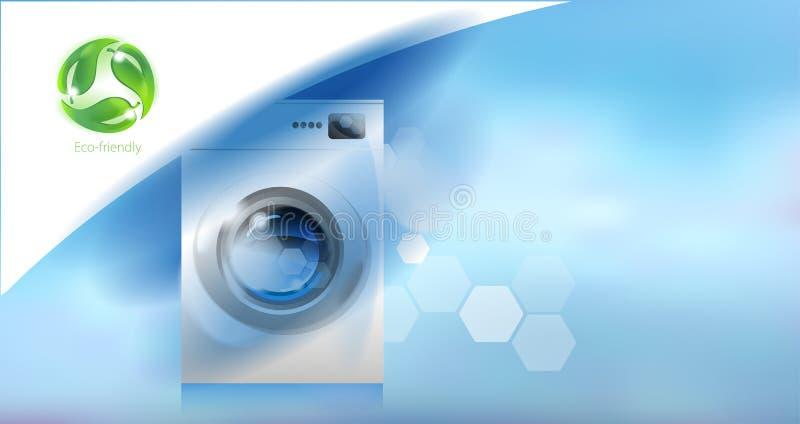 wasmachine Moderne huishoudapparaten en milieuzorg stock illustratie