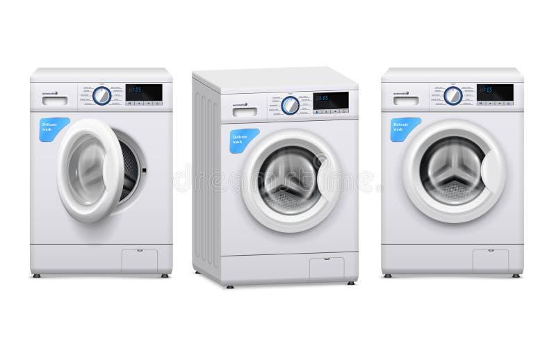 Wasmachine Realistische Reeks vector illustratie