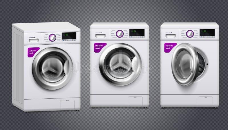 Wasmachine Realistische Reeks royalty-vrije illustratie
