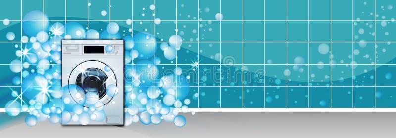 Wasmachine voorlading in leeg van de wasserijruimte turkoois als achtergrond met zeepbels 3D Realistische Vector De wasserijdiens vector illustratie