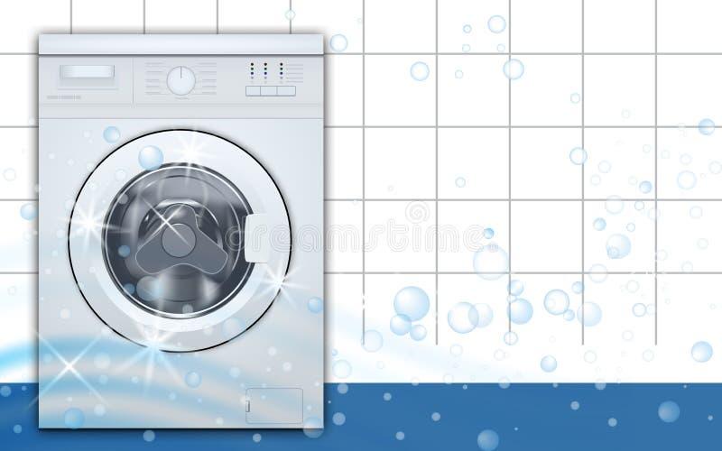 Wasmachine voorlading op de lege achtergrond van de wasserijruimte 3D Realistische Vector Vooraanzicht, close-up, gesloten deur stock illustratie