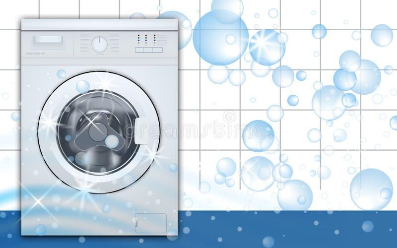 Wasmachine voorlading op de lege achtergrond van de wasserijruimte met zeepbels 3D Realistische Vector Vooraanzicht, close-up, stock illustratie