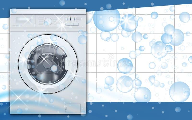 Wasmachine voorlading op de lege achtergrond van de wasserijruimte met zeepbels Vooraanzicht, close-up, gesloten deur 3D Realisti vector illustratie