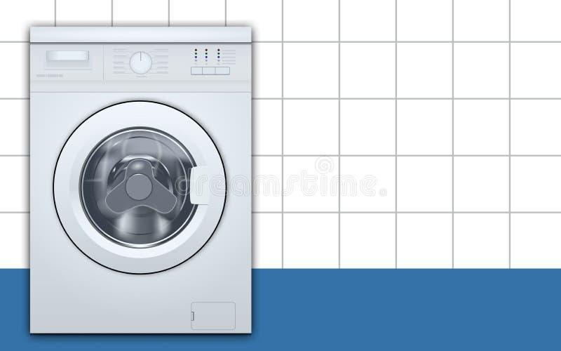 Wasmachine voorlading op de lege achtergrond van de wasserijruimte Vooraanzicht, close-up, gesloten deur 3D Realistische Vector royalty-vrije illustratie