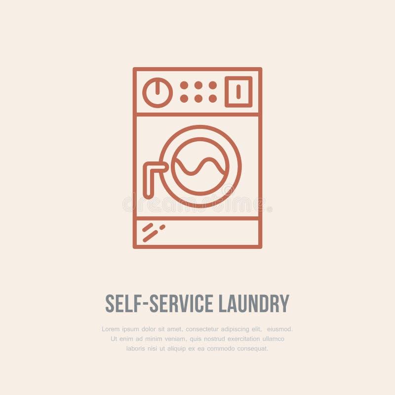 Wasmachinepictogram, het embleem van de wasmachinelijn Vlak teken voor launderette de dienst Logotype voor zelfbedieningswasserij royalty-vrije illustratie