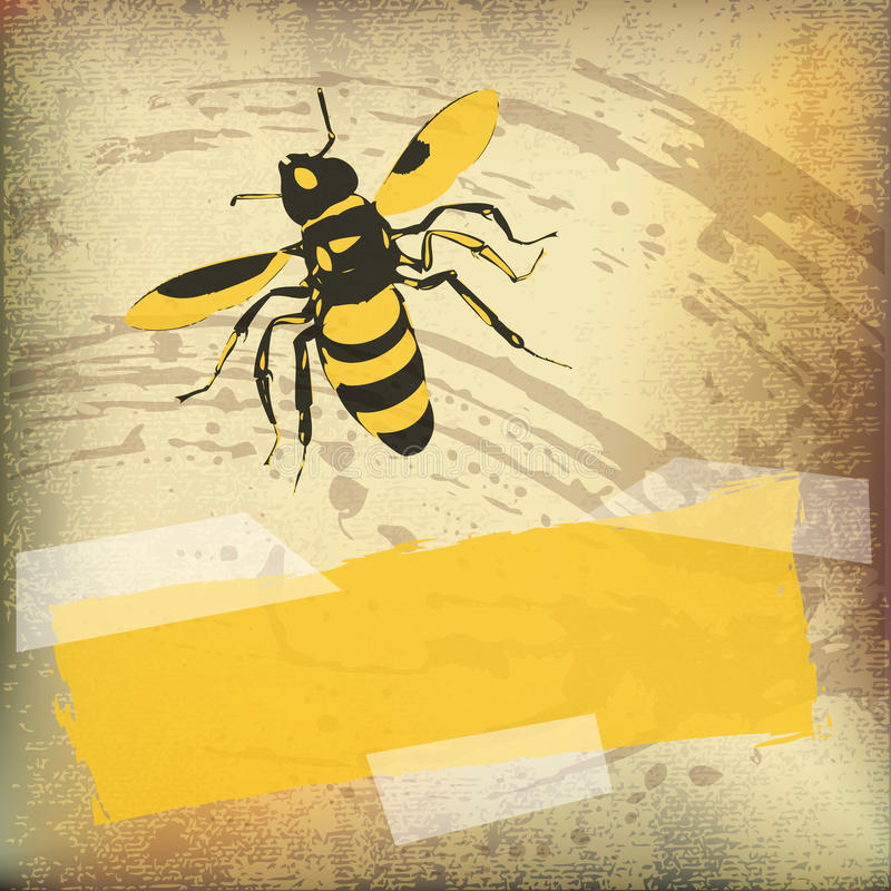 Wasp Background. Vector flyer over a parchment texture stock illustration
