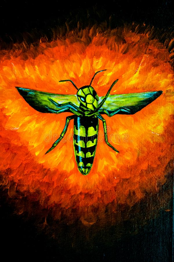 Wasp on the background of fire, acrylic illustration. art Director. stock photos