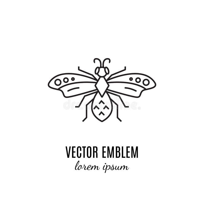 Wasp linje symbol som isoleras på vit bakgrund royaltyfri illustrationer