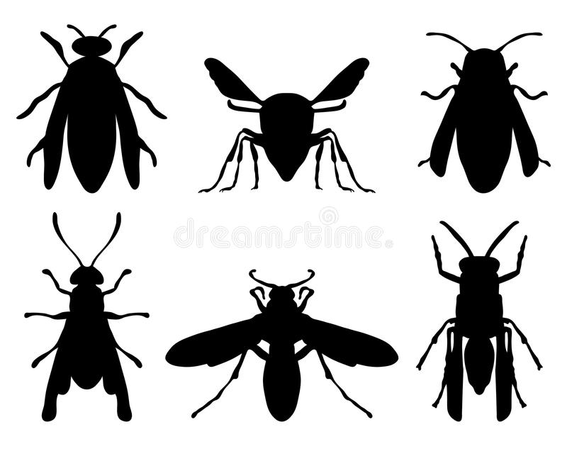 Wasps. Black silhouettes of wasps royalty free illustration
