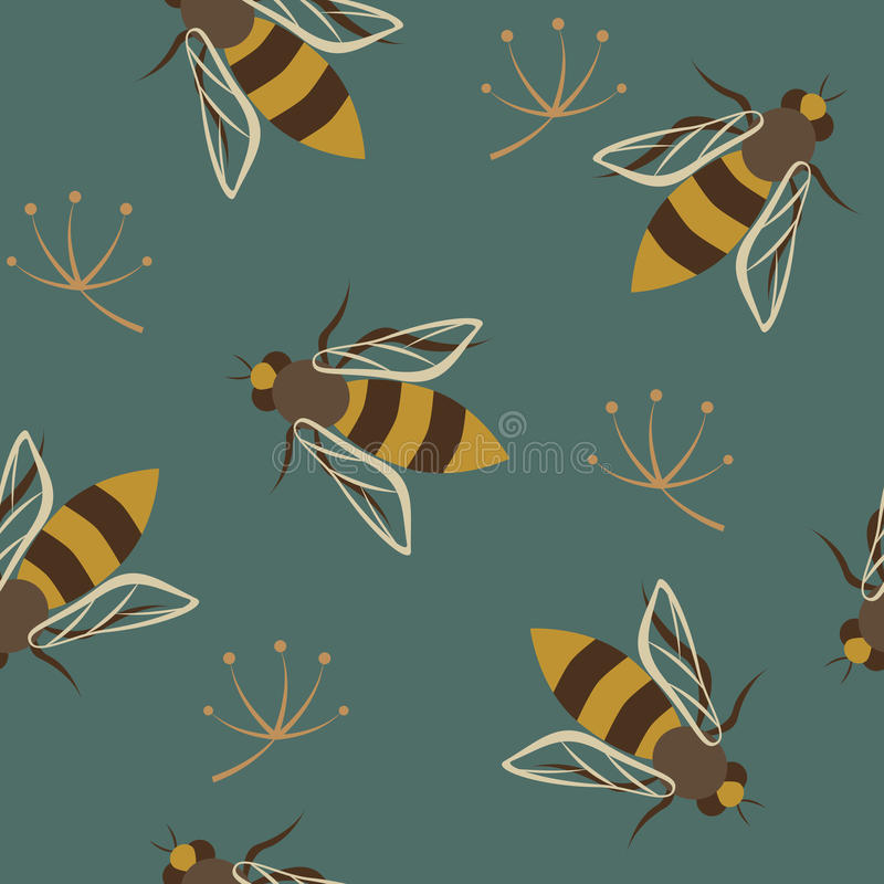 Wasps seamless pattern. Colorful seamless pattern with wasps on a blue background royalty free illustration