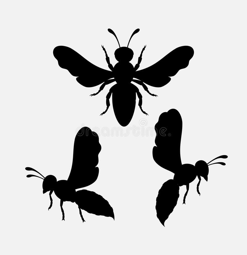 Wasps Silhouettes. Dangerous Wasps Silhouettes Vector Illustration royalty free illustration
