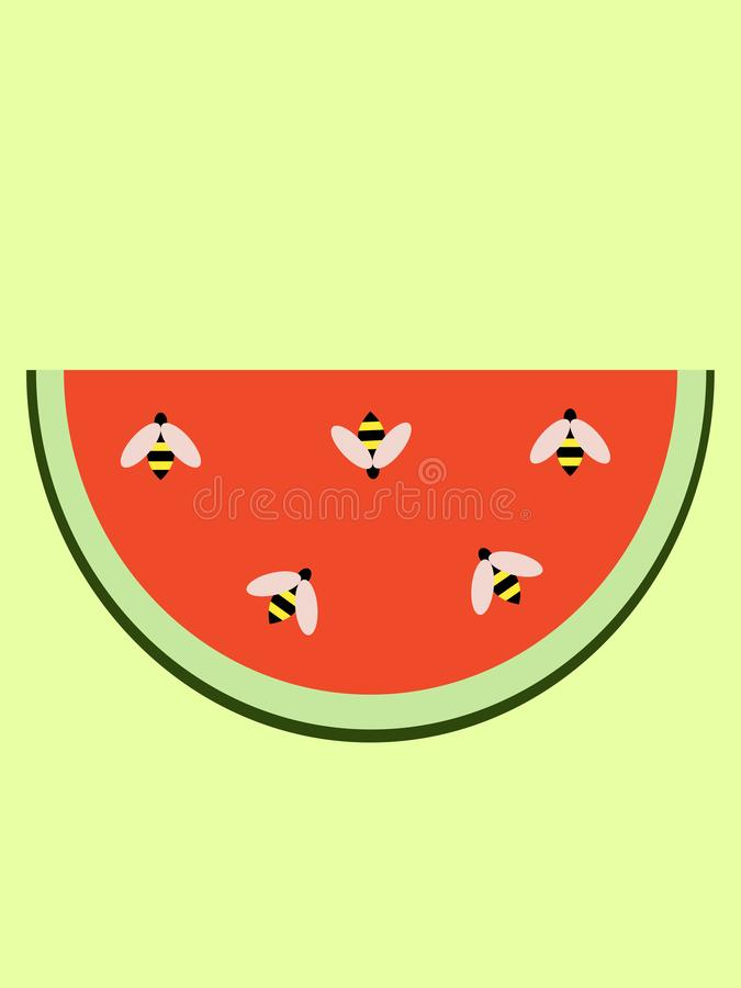 Wasps sitting on a watermelon. Vector royalty free illustration