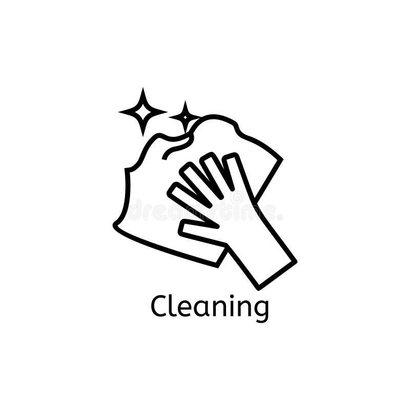 Wassend, strijkend, de schone pictogrammen van de wasserijlijn Wasmachine, ijzer, handwash en ander clining pictogram Orde in het royalty-vrije illustratie