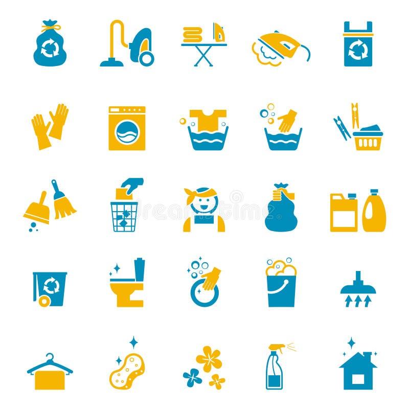 Wassende en schoonmakende pictogrammen vector illustratie