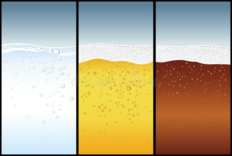 Wasser, Bier, Kolabaum stock abbildung