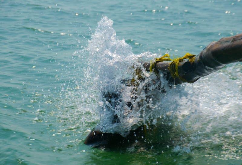 Wasser, das vom Meer während der Bootsfahrt spritzt stockfotos