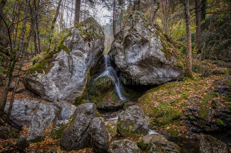 Wasser, das zwischen zwei große Felsen im Herbstwald bei Myrafälle fällt stockbild
