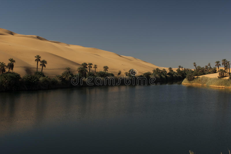Wasser in der libyschen Sahara-Wüste lizenzfreie stockbilder