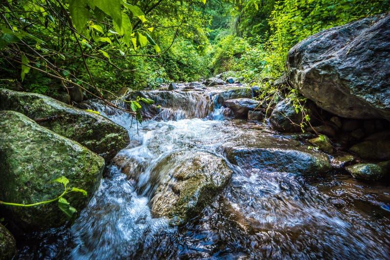 Wasser der Steigung, die steigt vom Berg ab lizenzfreies stockfoto
