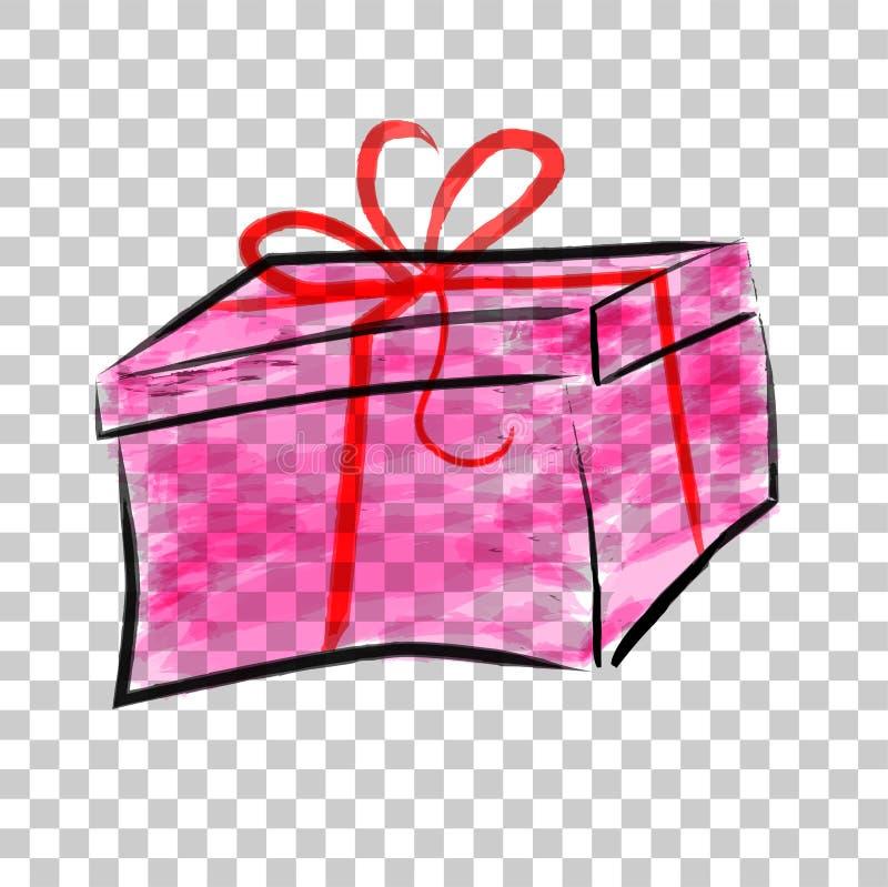 Wasser-Farbe der rosa Rechteck-Geschenkbox mit rotem Band, am transparenten Effekt-Hintergrund lizenzfreie abbildung