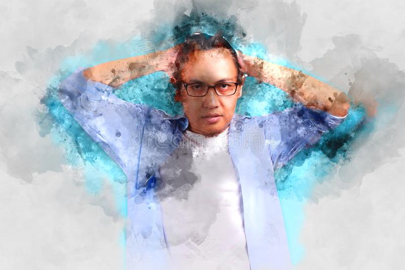 Wasser-Farbmalerei-Kunst eines Mannes, abstrakte zeitgenössische Kunst stock abbildung