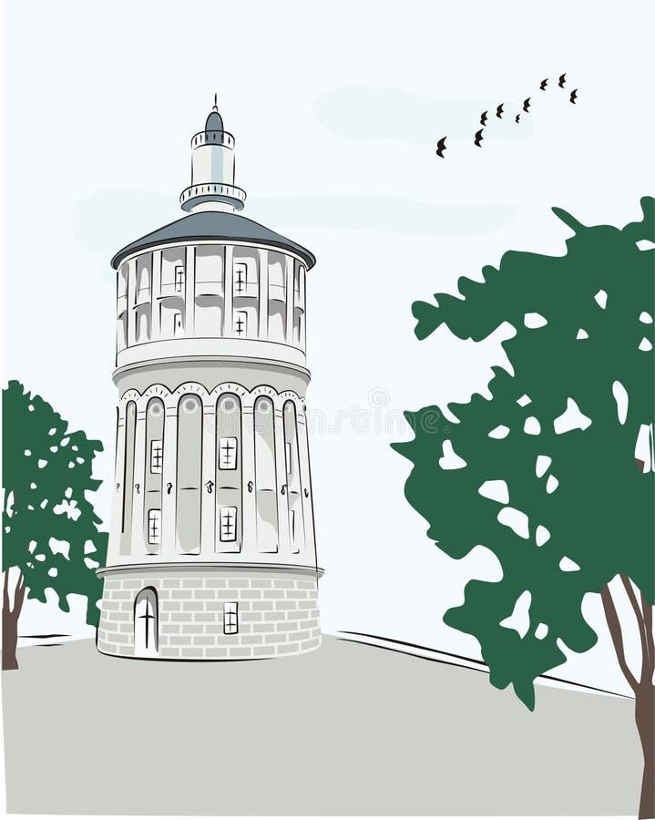Wasser-Feuer-alter Kontrollturm in Bucharest vektor abbildung