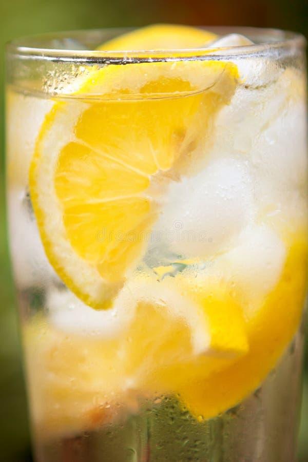 Wasser mit Zitrone und Los Eis lizenzfreie stockbilder