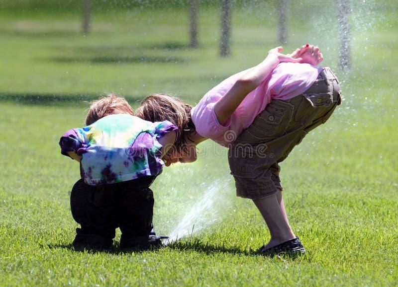 Wasser-Sprenger-Spaß stockfotos
