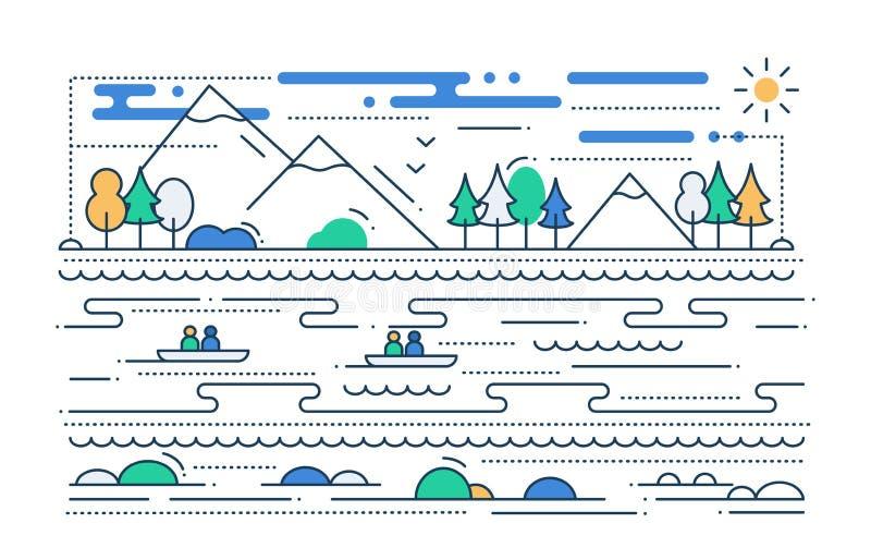 Wasser-Tourismus - Linie flache Designillustration lizenzfreie abbildung