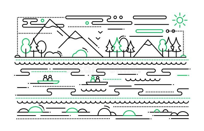Wasser-Tourismus - Linie flache Designillustration vektor abbildung