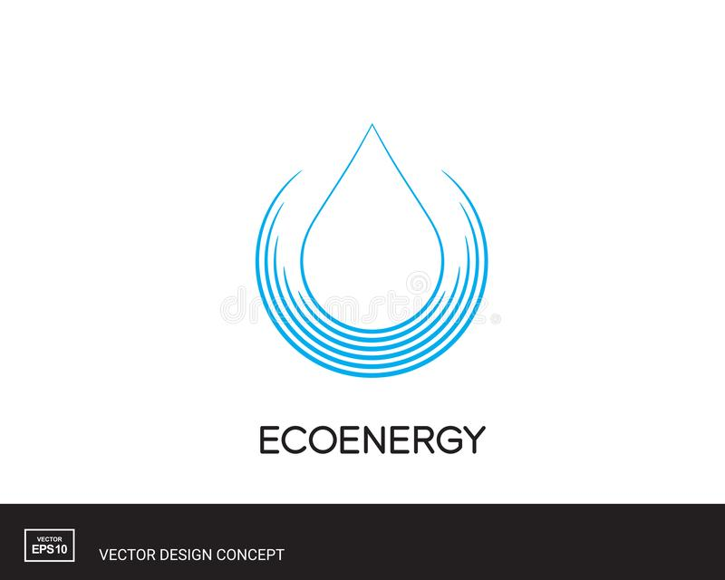 Wasser-Tropfen-Emblem moderne Logoschablone lizenzfreie abbildung