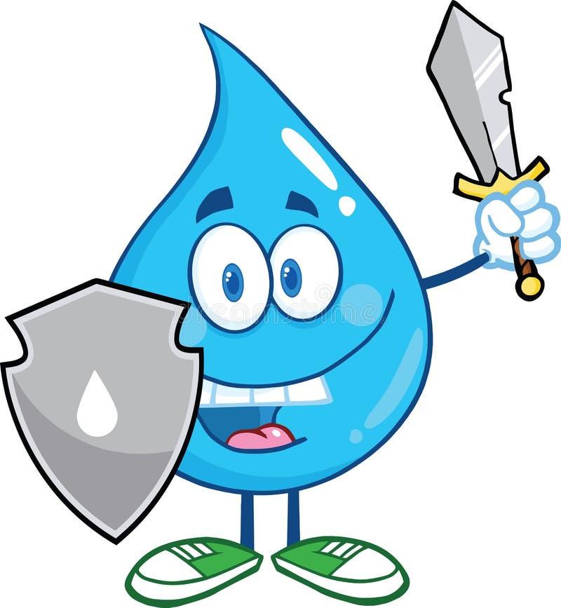 Wasser-Tropfen-Karikatur-Maskottchen Guarder mit Schild und Klinge lizenzfreie abbildung