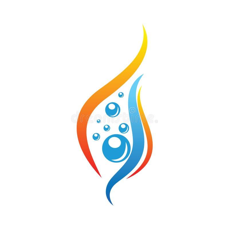 Wasser-und Feuer-Element Logo Design vektor abbildung