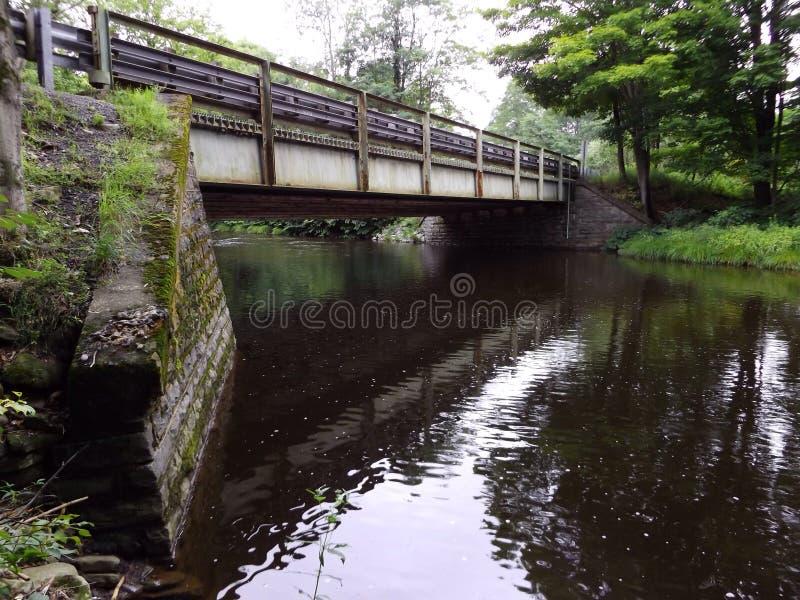 Wasser unter flüssiger Ruheruhe des Brückennebenflusses stockbild