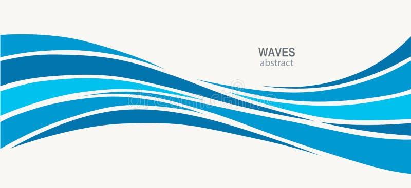 Wasser-Wellen-Logozusammenfassungsdesign stock abbildung