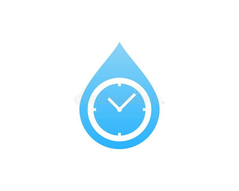 Wasser-Zeit-Ikone Logo Design Element lizenzfreie abbildung