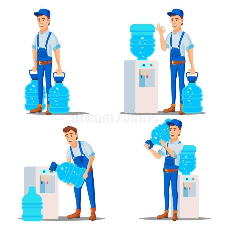 Wasser-Zustelldienst-Mann-gesetzter Vektor behandlung Büro-Getränk in den Plastikflaschen Wasserspender-Miete Versorgung, versend lizenzfreie abbildung
