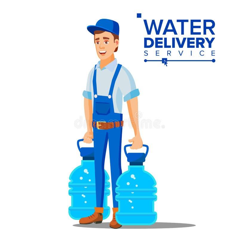 Wasser-Zustelldienst-Mann-Vektor Arbeitskraft in der blauen Uniform reinigung Lokalisierte flache Karikaturillustration stock abbildung