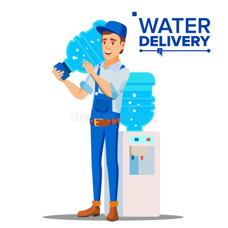 Wasser-Zustelldienst-Mann-Vektor Liefern der klaren Gesundheits-Wasser-Flasche im Haus, Büro Lokalisierte flache Karikatur lizenzfreie abbildung