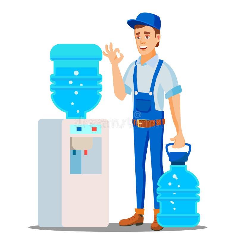 Wasser-Zustelldienst-Mann-Vektor Trinkendes Trinkwasser Tafelwasser-Versand-Arbeitskraft Lokalisierte flache Karikatur vektor abbildung