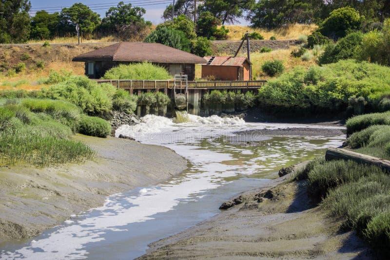 Wasseraussteuerungskontrollstation lizenzfreie stockfotografie