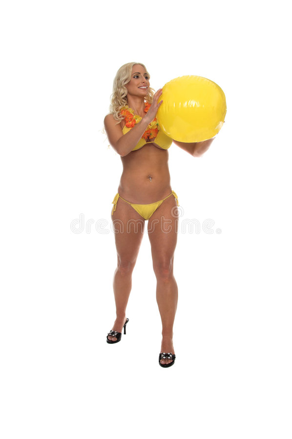 Wasserball-blonder gelber Bikini stockfoto