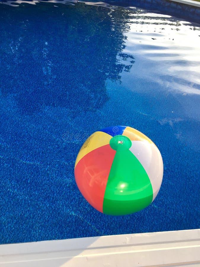 Wasserball schwimmt in Pool stockfoto