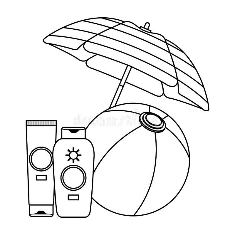 Wasserball und Sonne bronzers unter Regenschirm in Schwarzweiss lizenzfreie abbildung