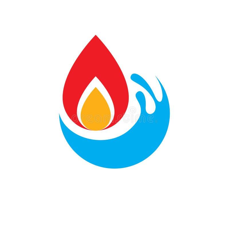 Wasserbeschaffenheits- und Feuerelemente, Naturenergie stock abbildung